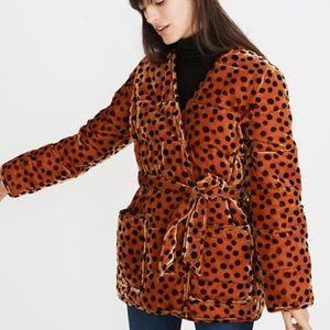 Velvet Quilted Wrap Jacket in Leopard Dot